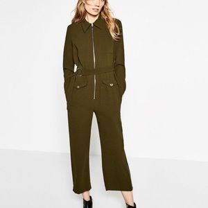 Zara Olive Green Utility Jumpsuit